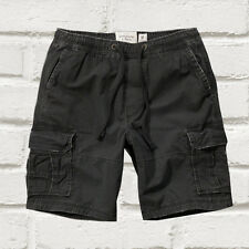 NEW Abercrombie & Fitch Mens A&F Cargo Jogger Shorts Black XS S M L XL