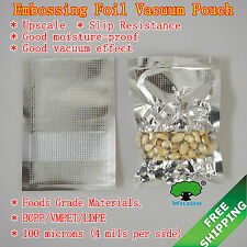 Embossing Aluminum Foil Flat Bags With Clear Window Vacuum  For Food Storage