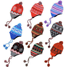 Unisex Knitted Peruvian Style Hat With Fleece Lining & Bobble Outdoors Winter