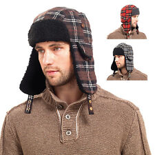 Mens Checked Sherpa Chunky Fleece Lined Trapper Hat With Ear Flaps & Chin Strap