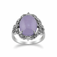 925 Sterling Silver Art Nouveau Lavender Jade & Marcasite Statement Ring