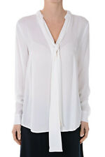 MICHAEL KORS New Woman White Long Sleeves Pleated SIlk Blouse NWT