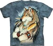 New The Mountain Golden Feather Indian Wolf T Shirt