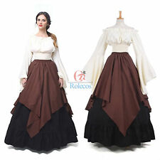 Vintage Medieval Renaissance Women Long Sleeve Queen Gown Wedding Dress Costume