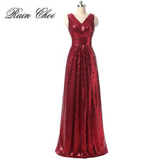 Long Sequins Gown Bridesmaid Dress Formal Evening Cocktail Party Prom Dress