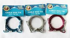DOG CABLE TIE OUT 6 FT PAWS N CLAWS Choose 1 Blue, Pink or Silver/Gray Pet Puppy