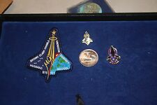 NASA Lot of 4 Space Shuttle Columbia Mission STS 107 Items Patches, Coin & Pins