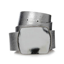 MARTIN MARGIELA MM11 New Man Silver Leather Belt Original Made in Italy NWT