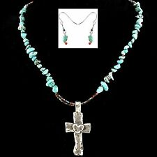 Western Cowgirl Turquoise & Beads Hammered Heart Cross Pendant Necklace Earrings