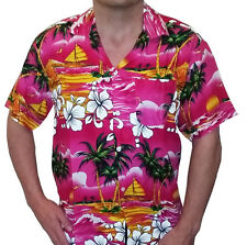 Hawaiian Shirt Hawaii Stag do Party Beach fancy dress  Palm Pink Size Medium
