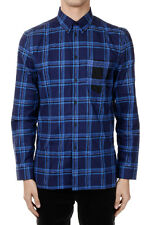 GIVENCHY New Men Blue Popeline cotton checked shirt NWT Original