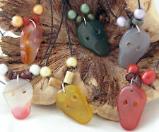 Agate gemstone skull pendant on 18inch leather cord necklace, in 4 colours