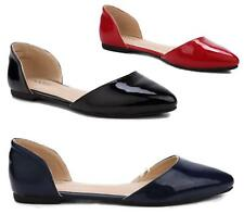 Ladies Flat Pointed Toe Slip on Faux Patent Leather Casual Ballet Pumps Shoes 3-
