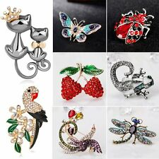 Womens Insect Butterfly Cats Crystal Rhinestone Brooch Pin Wedding Jewellery Hot