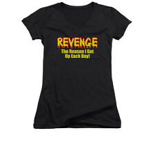 REVENGE Humorous Juniors V-Neck Tee Shirt