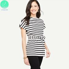 Stripes with Long in the Round Collar Short Sleeve T-shirt For Women Casual Tops
