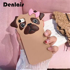 New Funny 3D Animal Pug Dog Cute Cartoon Rubber Soft Silicone Phone Case For