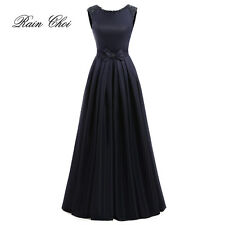 New Long Satin Bridesmaid Prom Dress Wedding Evening Formal Party Ball Gown