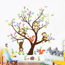 Cartoon monkey tree Wall Decal,Removable Vinyl Decor Art Mural Home Wall Sticker