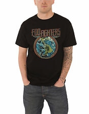 Foo Fighters T Shirt Distressed Earth Globe Band Logo Official Mens New Black