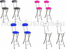 2 x FAUX LEATHER FOLDING BAR STOOLS BREAKFAST PADDED KITCHEN CHAIR HIGH STOOL