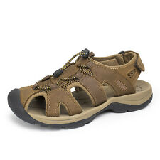 Mens Outdoor Sport Sandals Hiking Tail Round Toe Leather Summer Shoes