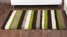 LARGE THICK BROWN BEIGE LIME GREEN STRIPED SHAGGY RUG