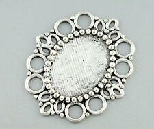 Wholesale Lots Gift HX Silver Tone Oval Frame Beads Settings 43x37mm