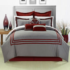 Cosmo Burgundy / Gray 12 Piece Embroidered Bed In A Bag Set With Sheet Set
