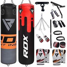 RDX 5ft Filled Heavy Punch Bag Boxing Set With Gloves Chain Bracket hooks MMA RO