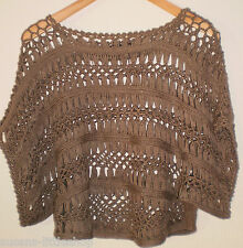 Quiz Brown Crochet Knit Cropped Batwing Jumper Top Size M/L 12-14
