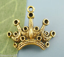 Wholesale Lots Gifts Gold Tone Crown Beads Charms Pendants 18x24mm