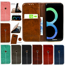 Retro PU Leather Magnetic Flip Stand Wallet Case Cover For Samsung Galaxy Shell