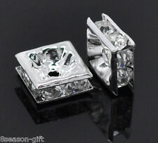 Wholesale Lots Gift Clear Rhinestone Square Spacer Beads 8x8mm