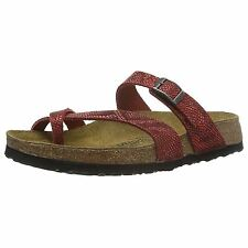 Papillio by Birkenstock Tabora Royal Phyton Red Womens Leather Slide Sandals