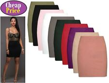 New Womens Plain Bodycon Pencil High Waisted Ladies Stretch Midi Skirt 6 - 26 sw