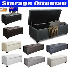 Large Blanket Box Ottoman Storage Linen Leather Foot Stool Chest Seat Bench Bed