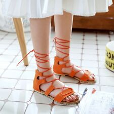 Women Gladiator Strappy Open Toe Lace Up Flat Sandals Shoes Causal Zip Orange