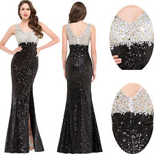Sequined Split Formal Evening Gown Party Prom Cocktail V-Neck  Bridesmaid Dress