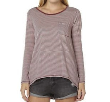 VOLCOM LIVED IN STRIPE TEE WOMENS RED WHITE CLEARANCE FREE DELIVERY AUSTRALIA