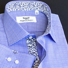 Black Gingham Check Business Dress Shirt Formal Pink Lilac Twill w 2 Cuff Styles