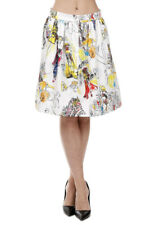 MOSCHINO COUTURE New Woman Sketch Printed Skirt with Buttons Front Made in Italy