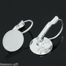 "Wholesale Lots Earring Hoops W/Pad Findings Silver Plated 22mmx12mm(7/8""x4/8"")"