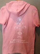HARLEY DAVIDSON DEEP V-NECK WAFFLE KNIT S/S HOODED SHIRT TOP W/BLING PINK M NWT