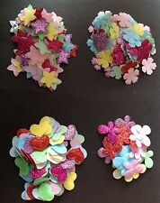Sparkly Stars/Flowers/Hearts/Butterflies Embellishments Mixed Colours 50pcs