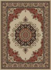 IVORY traditional ORIENTAL area RUG medallion FLORAL red BLACK persian CARPET