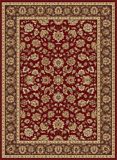 Red Oriental Floral Vine Traditional Area Rug Multi-Color Border Persian Carpet