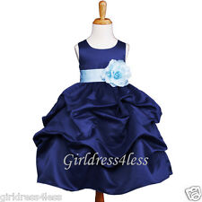 NAVY/SKY BLUE PICK UP PAGEANT FLOWER GIRL DRESS 6M 12M 18M 2/2T 3/4 5/6 8 10 12