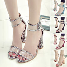 Womens High Clear Heels Ankle Strappy Open Toe Ladies Sandals Party Shoes Latest