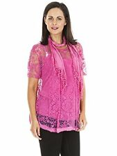 New Womens Italian Floral Sheer Mesh Three Piece Scarf T-Shirt Top Plus Size